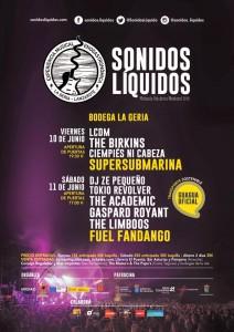 Cartel de la clausura de Sonidos Líquidos con Supersubmarina y Fuel Fandango