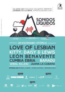 Cartel del festival de Lanzarote Sonidos Líquidos 2017 con Love of Lesbian