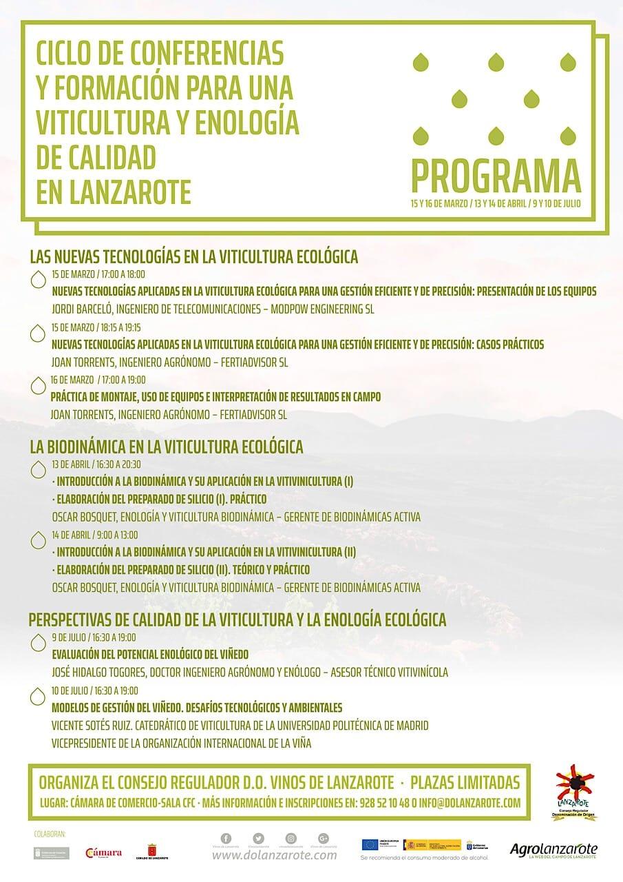 Programa ciclo conferencias de viticultura y enología ecológica Lanzarote 2018